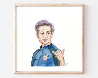 Megan Rapinoe- Original Ink/Watercolor Art Print- Megan Rapinoe Art Print- Soccer Player Art- Famous Athlete Art Print- Dorm- USWNT