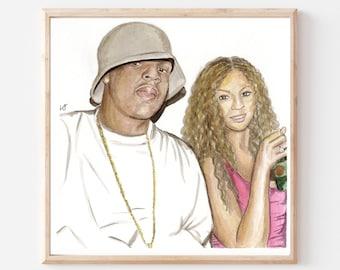 Beyonce and Jay Z- Original Ink/Watercolor Art Print- Early 2000s Aesthetic- Hip Hop Rap Art- Beyonce Art Print- Jay Z Art Print- Music Art