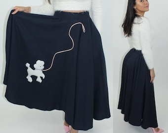 1950s Navy blue full poodle skirt