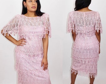 Vintage 1980s Farinae collections Pink lace  fringe dress size M