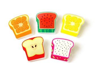 fruit toast acrylic pins