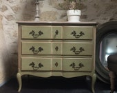 Chest of drawers Louis XV style patinated crossbow