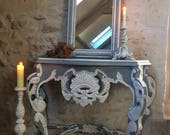 Console of Louis XV weathered gray Gustavian style