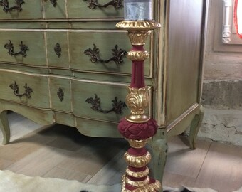 Gold and Red candle holder