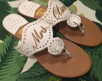 d1e1bcc9a40f69 Monogrammed Sandals- Custom Saying Flip Flops- Mrs. Sandals- Bride Shoes