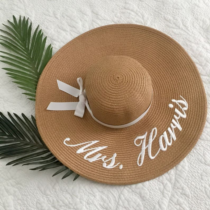 69f8a3afd5569d Embroidered Floppy Hat-Custom Mrs. Hat Wide Brim Beach Sun | Etsy
