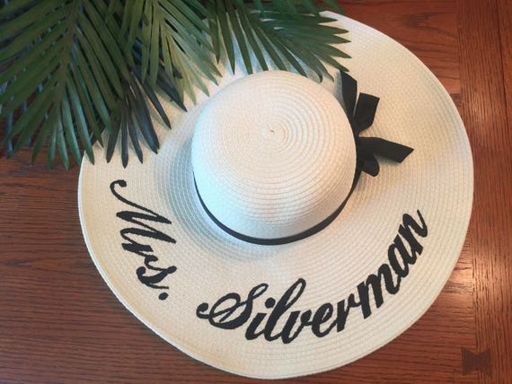 a616066f361c19 Embroidered Floppy Hat Custom Mrs. Hat Wide Brim Beach Sun | Etsy