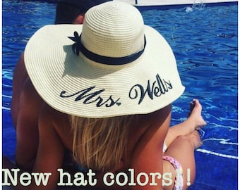 Embroidered Floppy Hat - Wide Brim Beach Sun Hat- Personalized Mrs. Hat
