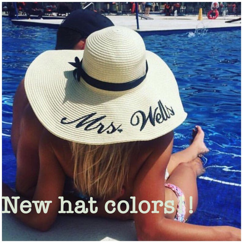 Embroidered Floppy Hat Wide Brim Beach Sun Hat Personalized  472d03b4e77
