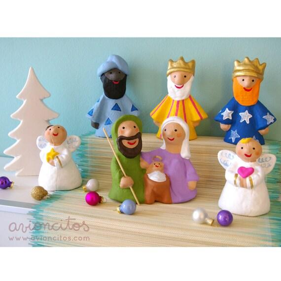 Set pistachio nativity scene lilac 6 piece