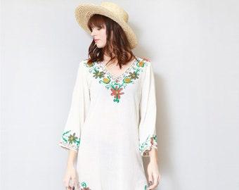 Vintage 1970's Cream Floral Embroidered Folk Midi Dress
