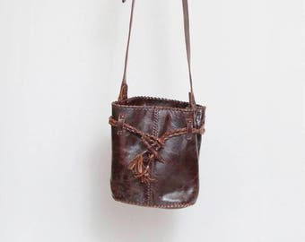 Vintage 1970's Brown Leather Drawstring Bucket Bag