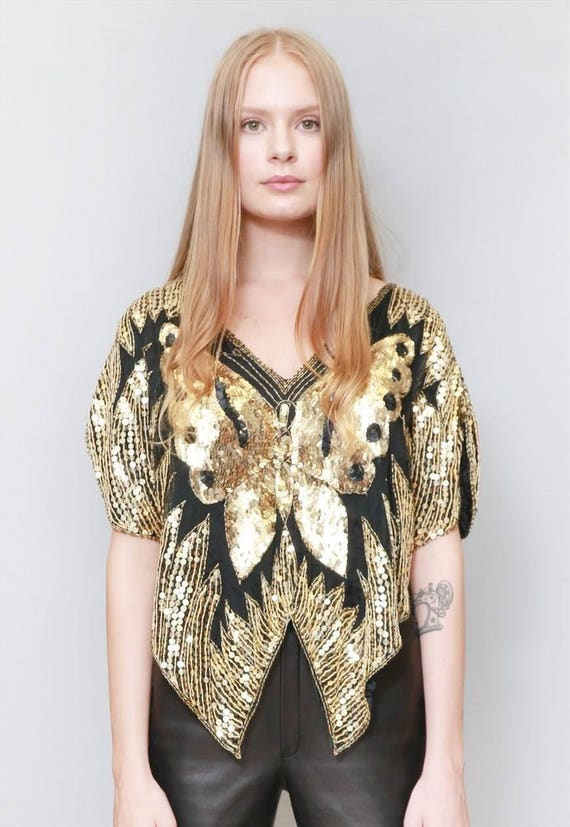 3761b6a398b2b Vintage 1970 s Sparkly Black And Gold Sequin Butterfly Top