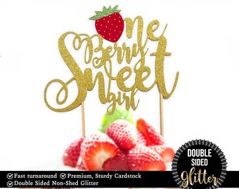 """1 pc """"One Berry Sweet girl """" DOUBLE SIDED Gold Glitter Cake Topper for first Birthday Baby girl fruit Strawberry summer cake smash party"""