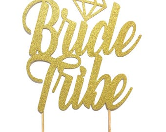 1 pc bride tribe script fonts gold glitter wedding bridal shower bachelorette party cake topper