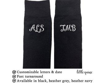 1 pair of custom personalised initial monogram Groom, best man, groomsman wedding favors Navy grey black socks