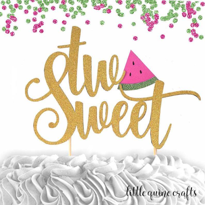 1 pcOne lemon leaf script yellow green Glitter Cake Topper for first Birthday Baby girl boy tutti fruity fruit summer cake smash party