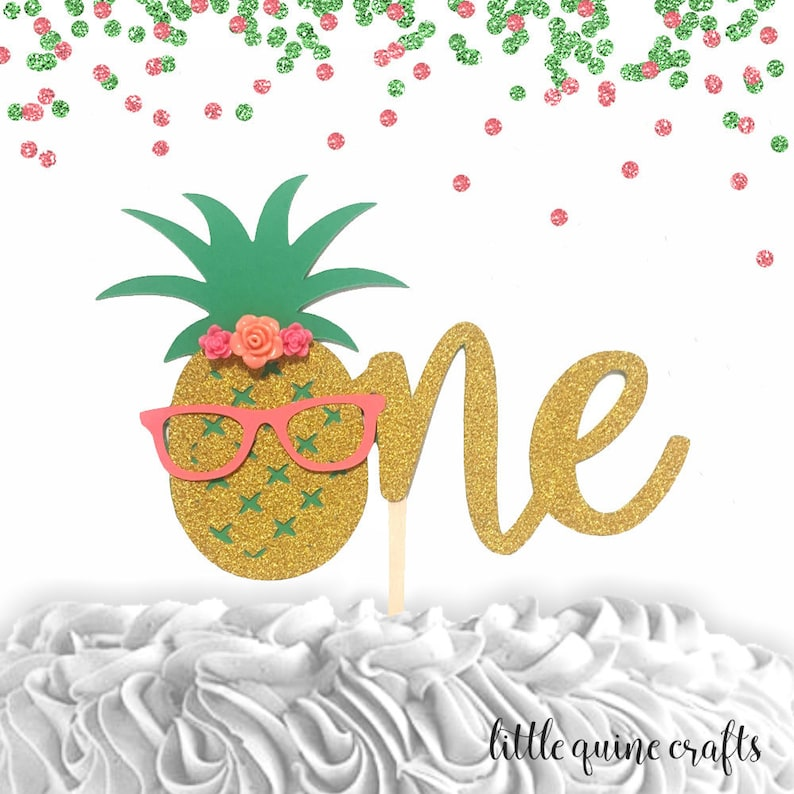 099f8820e5b70 1 pc flowers ONE pineapple glasses cake topper aloha luau | Etsy