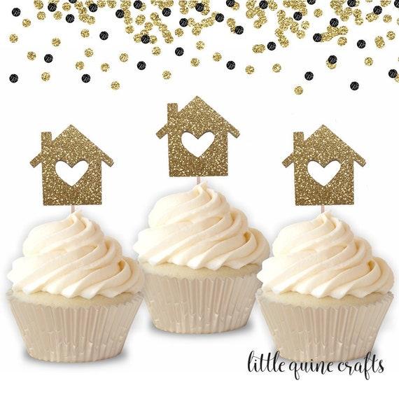 12 pcs Up Up /& Away MINI cupcake topper Gold Glitter Hot Air Balloon Toddler boy girl Birthday Baby Shower Wedding Theme