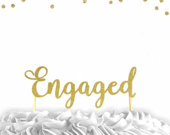 1 pc Engaged script fonts gold silver  glitter wedding bridal Shower bachelorette party engagement cake topper
