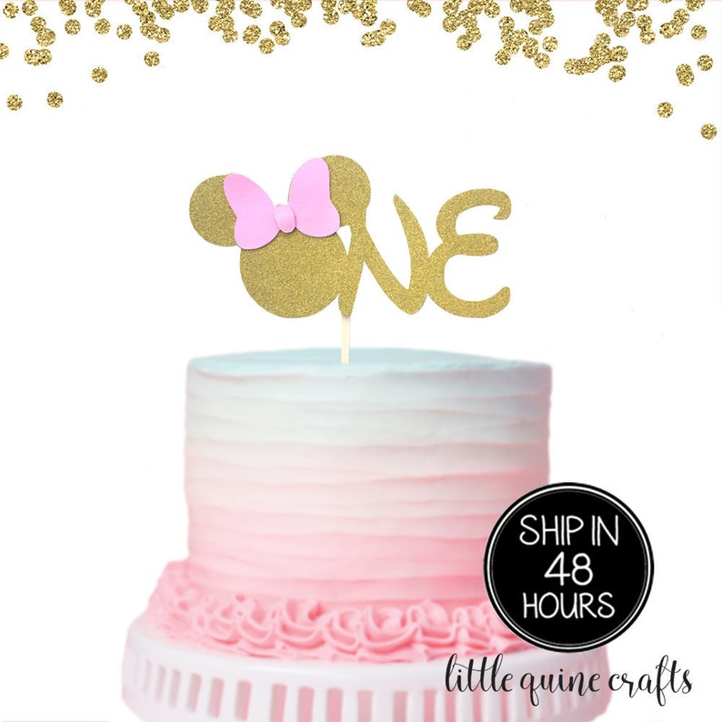 Excellent 1 Pc One Minnie Mouse Head Pink Gold Glitter Cake Topper For Etsy Funny Birthday Cards Online Inifodamsfinfo