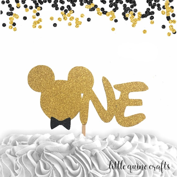 aa33a40a5 1 pc ONE Minnie Mouse Head Pink Gold Glitter Cake Topper for first ...