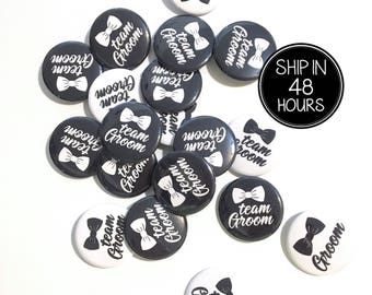 10 pcs BOW Groom and Team Groom badge pin pinback button wedding shower bachelor party favors gift black & white background
