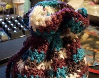 Purple and Blue Crochet Drawstring Bag