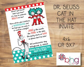 Thing 1 And 2 Birthday Invitations