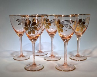 Cordial Glasses-Rose Colored, Floral Pattern-Set of 6