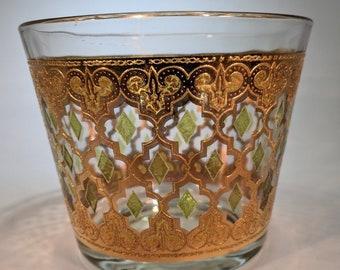 Vintage Culver Valencia Green Diamond and 22k Gold Finish-Moroccan Style Trellis Pattern- Ice Bucket