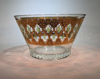 Vintage Green and Gold Culver 22k Gold Valencia Pattern-Moroccan Style Trellis Pattern Ice Bucket