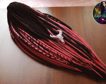 Set of wool DE dreads. Double ended wool dreadlocks (pink, black)
