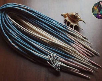 "Set of wool double ended dreads ""Iceberg"". Dreadlock extensions. ( White, Blue )"