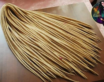 Set of wool blond double ended dreads. Wool dreadlocks.