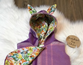 Upcycled recycled Wool vest baby  hooded vest size 2, coat baby,