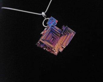 Bismuth Crystal Pendant /necklace /pendant /crystal /luminescent /rainbow /rare /jewelry