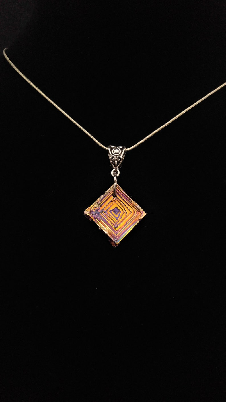 Bismuth Crystal Pendant necklace pendant crystal luminescent rainbow rare jewelry