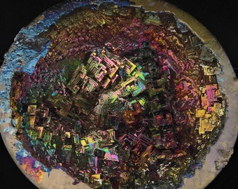 Bismuth Geode on Custom Stand Bismuth Crystal Display Mineral Specimen Education Teaching Metaphysical Therapy rare unique fantasy piece