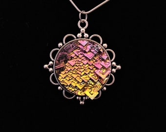 Antique style Bismuth Crystal Pendant /necklace /pendant /crystal /luminescent /rainbow /rare /jewelry