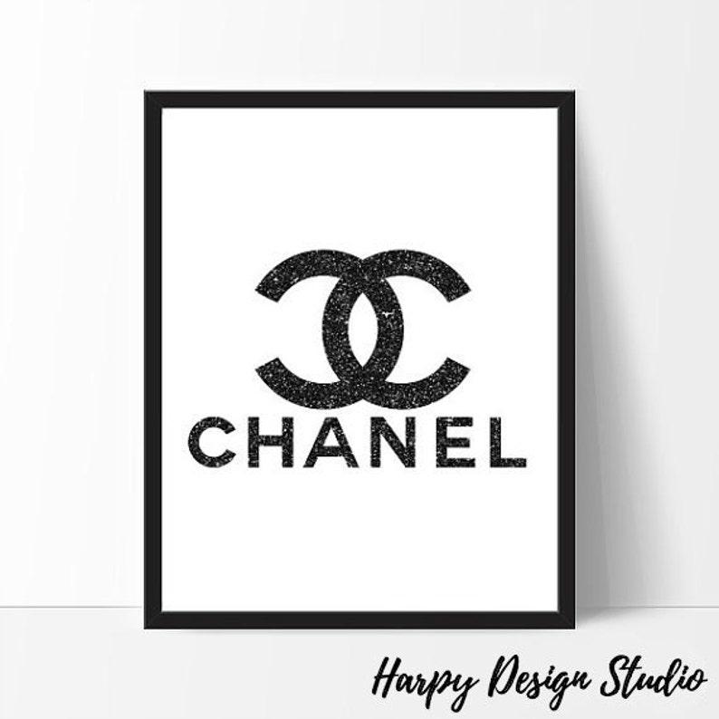 photo regarding Printable Chanel Logo titled Chanel Brand, Design Coco Chanel Print, Black Glitter, Coco Chanel Artwork, Design and style Print, Wall Artwork, Design Wall Artwork, Black, Glitter Printable