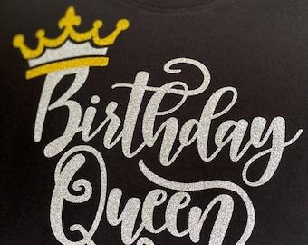 Birthday Queen Glitter Tee