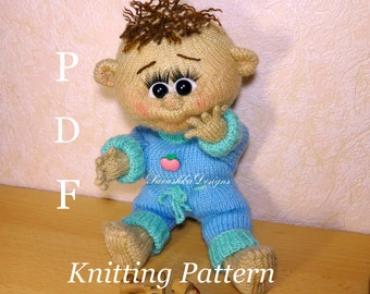 Toy Knitting Pattern doll baby Dennis knitted toys making amigurumi pattern doll knitting pattern  crochet doll knit doll making mothers day