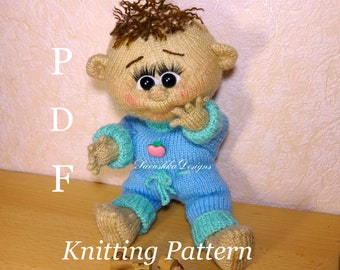 Toy knitting pattern Baby Dennis doll knitted toys making amigurumi pattern doll knitting pattern baby crochet doll knit doll making gift