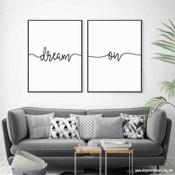 Traum Traum Wandkunst Schlafzimmer Wandposter Traum Auf | Etsy