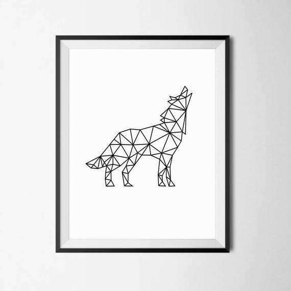 Loup Geometrique Impression Geometrique Loup Animal Etsy