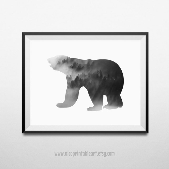 Bear Print Bear Wall Art Black Bear Art Black Bear | Etsy