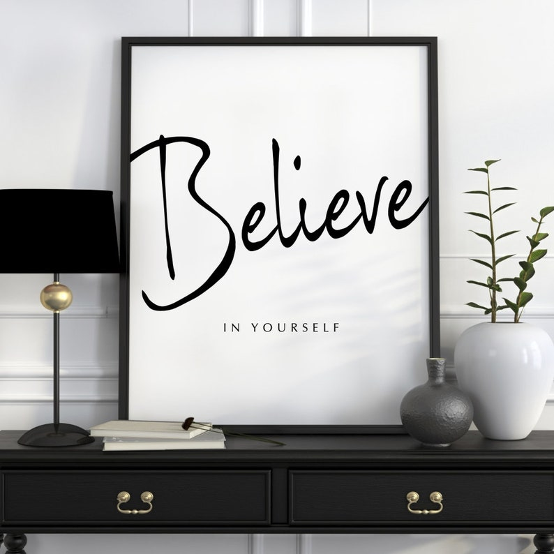 Believe In Yourself Print Typography Poster Office Wall Art Etsy