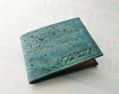 Billfold Vegan Cork wallet teal RFID