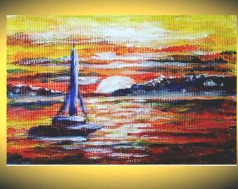 Sunset painting purple orange sunset desert painting